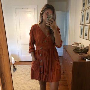 Asos pumpkin button dress